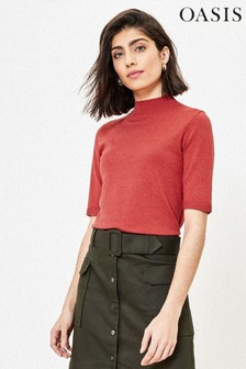 Oasis Red Mock Neck Knit Jumper