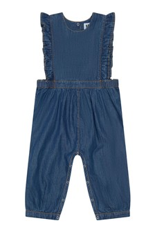 Baby Girls Blue Cotton Denim Jumpsuit