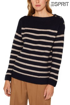 Esprit Blue Striped Sweater With Button Details