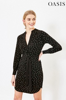 Oasis Spot Pintuck Shirt Dress