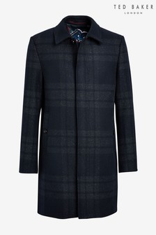 Ted Baker Blue Dudno Oversized Check Overcoat