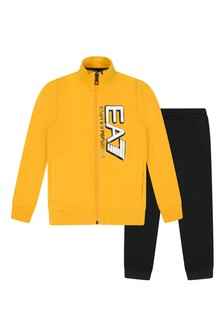 Boys Yellow/Black Cotton Tracksuit