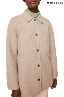 Whistles Natural Classic Wool Overshirt