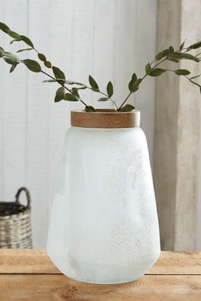 Frosted Glass and Wood Vase