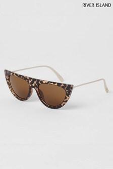 River Island Tortoise Effect Cardi Visor Sunglasses