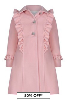 Girls Pink Diamanté Embellished Coat