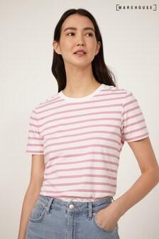 Warehouse Pink Stripe Button Detail T-Shirt