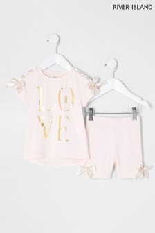 River Island Pink Medium Love Foil Satin Bow T-Shirt Set