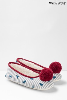 White Stuff White Cat Ballerina Slippers