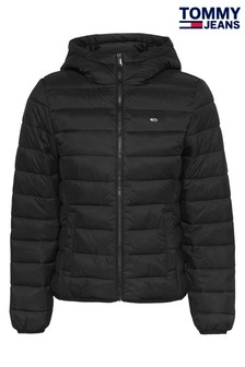 Tommy Jeans Black Hooded Quilted Full Zip Jacket