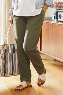 Maternity Linen Blend Taper Trousers
