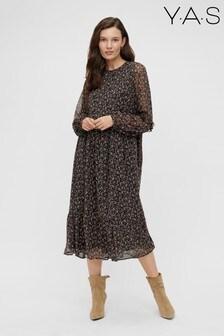 Y.A.S Black Ditsy Floral Mini Ruffle Midi Dress