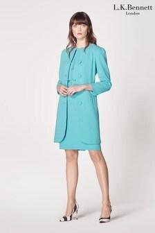 L.K. Bennett Blue Rosamund Button Through Crepe Coat