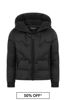 Kids Black Padded Branded Jacket