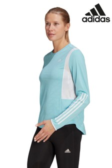 adidas Own The Run 3 Stripe Long Sleeve T-Shirt