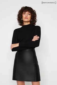 Warehouse Black Seamed Detail PU Skirt