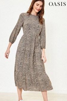 Oasis Black Camo Texture Tiered Midi Dress