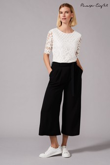 Phase Eight Black Magma Wide Leg Culottes