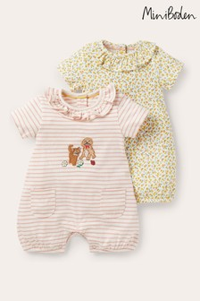 Boden Yellow Jersey Rompers Twin Pack