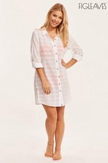 Figleaves White Bali Palm Textured Beach Shirt