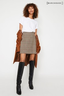 Warehouse Black Check Pelmet Mini Skirt
