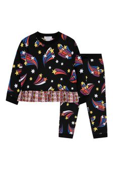 Girls Black Shooting Stars Tracksuit