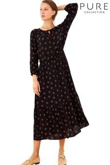 Pure Collection Black Tie Neck Midi Dress