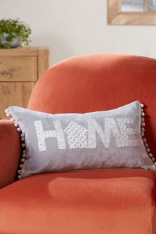 Home Soft Velour Pom Edge Cushion