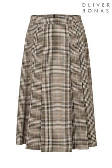Oliver Bonas Checked Brown Pleated A-Line Midi Skirt