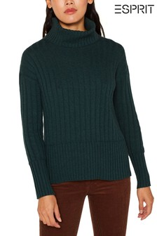 Esprit Green Ribbed Roll Neck Sweater