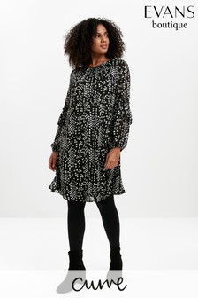 Evans Curve Black Chiffon Tunic Dress