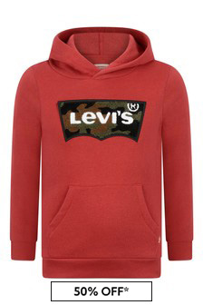 Boys Red Chenille Logo Hoody