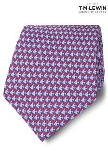 T.M. Lewin Made In Italy Wide Burgundy And Blue Fish Silk Tie