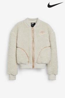 Nike Cream Sherpa Fleece Bomber Jacket