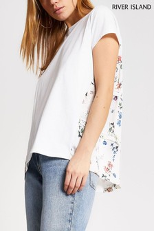River Island White Floral Woven Back T-Shirt
