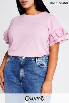 River Island Curve Pink Medium Broderie Extreme Flute Sleeve T-Shirt