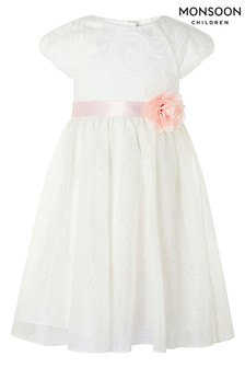 Monsoon Cream Melody Sparkle Dress