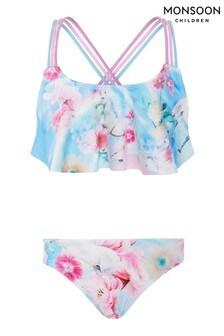 Monsoon Blue Unicorn Rainbow Frill Bikini Set