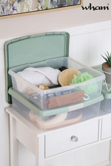 Set of 3 Wham Clip 13.2Ltr Square Plastic Storage Boxes And Lids