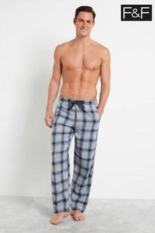 F&F Grey Check Flannel Pyjama Bottoms