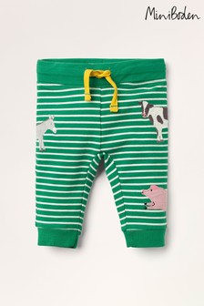 Mini Boden Green Appliqué Patch Jersey Bottoms