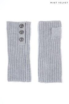 Mint Velvet Silver Grey Button Handwarmers