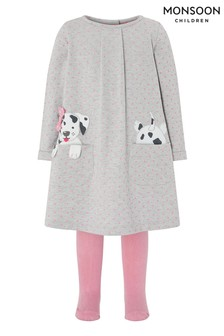 Monsoon Baby Dotty Sweat Dress And Tights