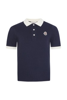Boys Navy Cotton Polo Top