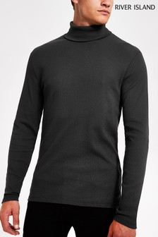 River Island Dark Grey Long Sleeve Roll Neck T-Shirt