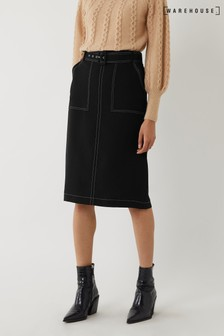 Warehouse Black Contrast Stitch Pencil Skirt