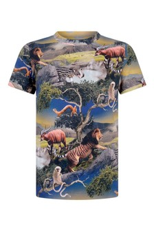 Boys Multicoloured Animals Organic Cotton T-Shirt