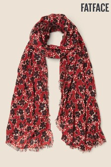 FatFace Red Inky Floral Scarf