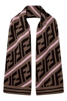 Girls Brown/Pink Wool Logo Scarf