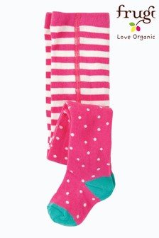 Frugi Knitted Tights In Pink With A White Polka Dot